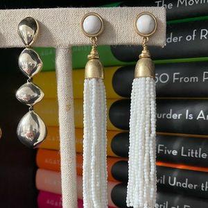 {Stella & Dot} Gita white fringe tassel earrings